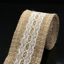 Burlap Hessian Ribbon Lace Trim Rustic Wedding Home Party DIY Decor & 2M