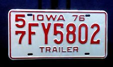 1976 IOWA TRAILER LICENSE PLATES LINN COUNTY NEVER USED 57 FY5802