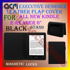 "ACM-DESIGNER EXECUTIVE LEATHER FLIP CASE for ALL NEW KINDLE E-READER 6"" - BLACK"
