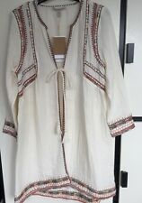 ZARA Long Embroidered Jacket Waistcoat Top Coat Size Small Boho Style