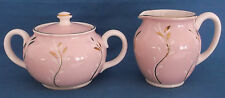 VINTAGE SADLER PINK GOLD MILK JUG & SUGAR BOWL MADE IN ENGLAND TEA PARTY WEDDING