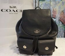 NWT COACH - F37410 BILLIE Large Backpack In BLACK Pebbled Leather MSRP $395