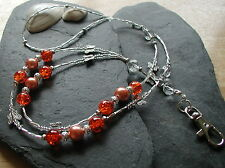 """Orange Butterfly"" Handmade Glass Beads ID Lanyard Badge Holder Necklace"