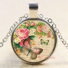 Vintage peony butterfly Cabochon Tibetan silver Glass Chain Pendant Necklace m52