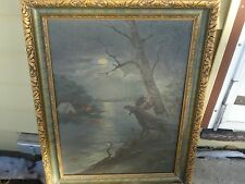 OIL ON CANVAS ORIGINAL 1921 MOOSE HUNTING SIGNED EX. NICE!