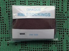 Retro FROG ISLAND HOSIERY Ribbed /Rib Stockings - MINK One Size (Plain Welt)