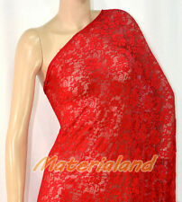 "160cm(63"") Width Red 4-Way Stretch Spandex Lace Fabric DIY Dress Making LC01A"
