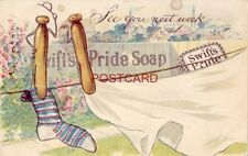 """pre-1907 SWIFT'S PRIDE SOAP - """"See you next week"""" - clothespins on line"""