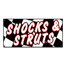 Shocks Struts Checkered Flag - Automotive Cars Repair Business Sign 4'x2' Banner