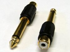 6.35mm (1/4 inch) Mono Jack plug to RCA Phono Socket Gold Adaptors (Pack of 2)
