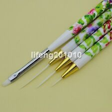 4PCS Nail Art Brush Set Acrylic Drawing Painting Liner Pen Nail Brushes Tool NEW
