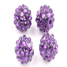 New 10Pcs Acrylic Crystal Rhinestones Purple Pave Clay Round Ball Spacer Beads