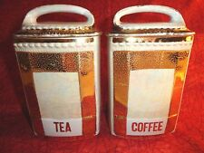 VINTAGE SILESIA GERMANY IRIDESCENT CANISTERS~ COFFEE AND TEA