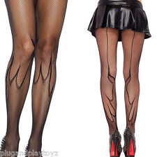 Women's Black Stockings Gothic Fire Flame Net Fishnet Tights Full Pantyhose OS