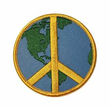 3 INCH Peace Sign Yellow and World Earth Iron On Hippie Applique Badge Patch FD