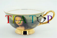 European Mona Lisa Oil Painting Afternoon Tea Coffee China Bone Cup & Saucer Set