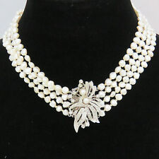NYJEWEL 14k Solid Gold Amazing Victorian Filigree 1ct Diamond Pearl Necklace 13""