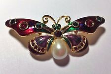 JOAN RIVERS Enamel Faux Pearl Bejeweled Rainbow Butterfly Collection Pin Brooch