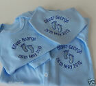 Personalised New Baby Bib/Vest/Sleepsuit or Gift set, Embroidered Quality Items