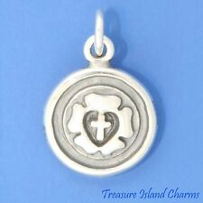LUTHERAN ROSE LUTHER SEAL CROSS 2-SIDED .925 Solid Sterling Silver Charm Pendant
