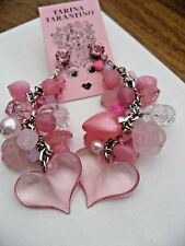 Tarina Tarantino Earrings Mega Long Pink Dangle Heart Lucite and Crystals NWT