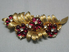 Vintage Marcel Boucher Brooch Pin Ruby Red Glass Cabochons Rhinestones Flowers