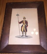 Papal Swiss guard in uniform antique hand painted 18th Century Painting Sabato