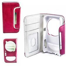 Luxus Book Style Case Handy Tasche Samsung Galaxy S4 ZOOM Pink-Weiß Hülle Etui