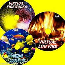 VIRTUAL FISH TANK LOG FIRE & FIREWORKS 3 DVDs VIEW ON PLASMA LED LCD TVs NEW