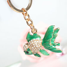 Lovely Goldfish Green Pendant Crystal Purse Bag Car Key Ring Accessories Gift