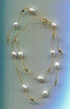"""24"""" LONG 925 GOLD VERMEIL, FRESHWATER PEARL & CZ BY THE YARD NECKLACE"""