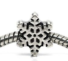 Snowflake Christmas Holiday Snow Bead for Silver European Style Charm Bracelets