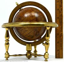 """Vintage MINIATURE 4"""" GLOBE New-World ZODIAC MOTIF Solid BRASS STAND Italy Made!"""