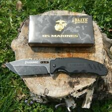 US Marine Corp Elite Tactical Folding Knife Stone Wash Finish Blade G10 Handle