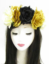 Large Black Gold Rose Flower Sugar Skull Headband Halloween Day of the Dead 793