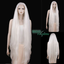 "39"" Long Straight Yaki White Lace Front Synthetic Wig Heat Resistant"