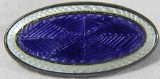 Atq Art Deco Royal Blue Spider Web Guilloche Enamel Sterling Silver Pin Brooch