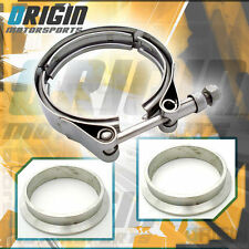 "2.5"" Inch Turbo Exhaust Down Pipe Stainless V-Band Clamp Kit +Mild Steel Flanges"