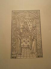 Planche gravure  Moyen age Charles VIII sur son lit de justice Jean Boutillier