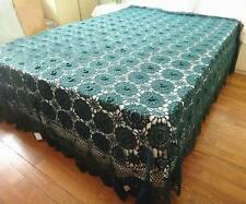 Gorgeous 3D Flower Green Hand Crochet Cotton Bed Cover Bedspread Coverlet XL