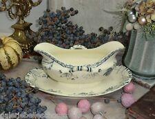 N1355 Sarreguemines Royat Sauciere Keramik alt Shabby Chic Brocante Jugendstil