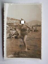 Vecchia fotografia di bagnante a Salerno Spiaggia del porto Acqua del fico mare