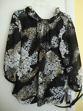 New Womens Peter Nygard Black Floral Sheer One Piece Top Size 10