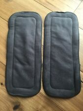 Two highly absorbent bamboo charcoal booster pads / inserts for nappies