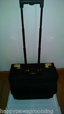 Heavy Duty Leather/600D Nylon ROLLING MOBILE SALES BRIEFCASE Wheels Locking CASE