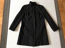 New Zara Woman black ruffle collar jacket Trench Coat Small