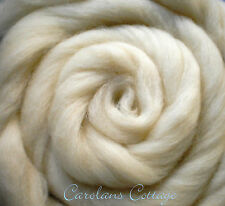 Spinning Fiber Wool Roving USA NATURAL WOOL 1 Pound Creamy White Felting Dyeing