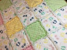 Hands and feet rag quilt blanket lap baby handmade, homemade minky new