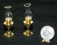 Dollhouse Miniature Oil Lamp Set 2 Light Gold Vintage Style Minis 1:12