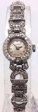 MONTRE FEMME ANCIENNE ART DECO VERS 1930 EN OR blanc  diamants   *